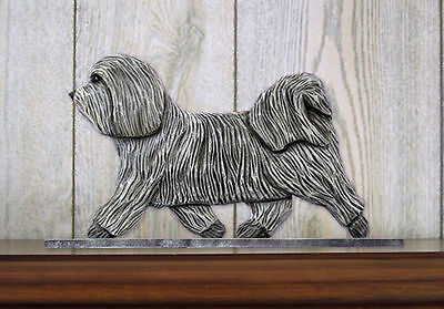 Havanese Dog Figurine Sign Plaque Display Wall Decoration Light Grey