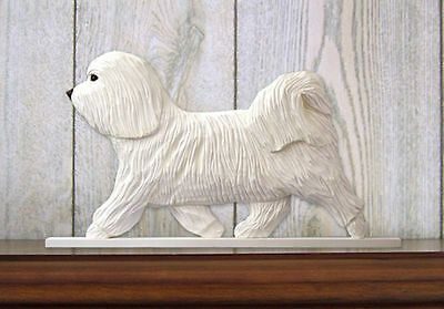 Havanese Dog Figurine Sign Plaque Display Wall Decoration White