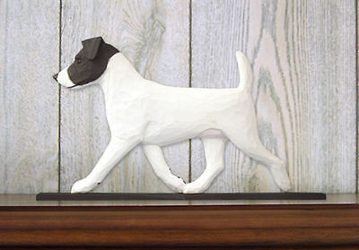 Jack Russell Terrier Dog Figurine Sign Plaque Display Wall Decoration Black/Whit