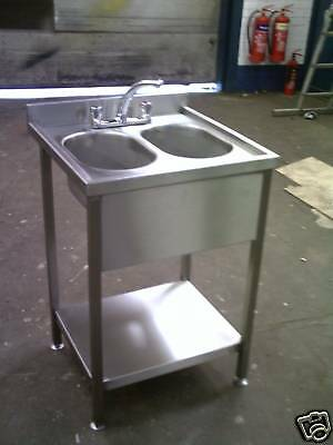 Stainless Steel Double Bowl Bar Sink 600 X 600