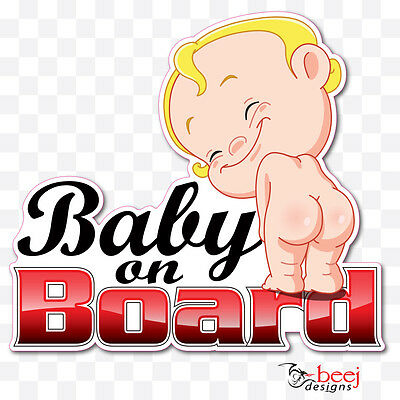 Baby on Board 155 x 140mm - decal car sign smiling cheeky children sticker decor