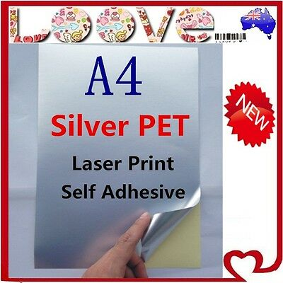 50x A4 Glossy Silver PET Self Adhesive Vinyl Sticker Paper Label Laser Print