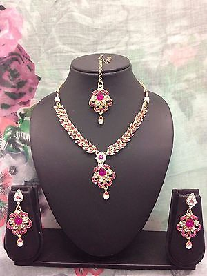 New Indian Pakistani Bollywood Jewellery Necklace Set Gold White clear stones
