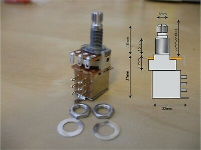 Push / Pull DPDT switched guitar potentiometer, A250k, with 2 nuts and 1 washer