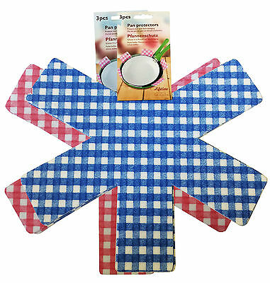 2 packs (6 piece) NON SLIP PAN PROTECTORS non slip BLUE OR PINK