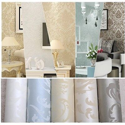 Wallpaper Textured Non-woven Wallcovering Classic Damask Beige White Blue Bronze