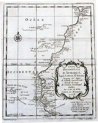 Antique map, Coste Occidentale D'Afrique Depuis le Detroit de Gibraltar