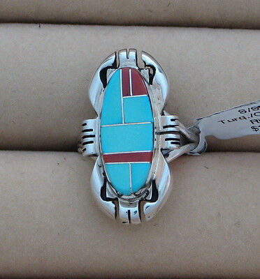 Navajo Indian Ring Sleeping Beauty Turquoise Coral  Size 7.5 Sterling Ray Jack,