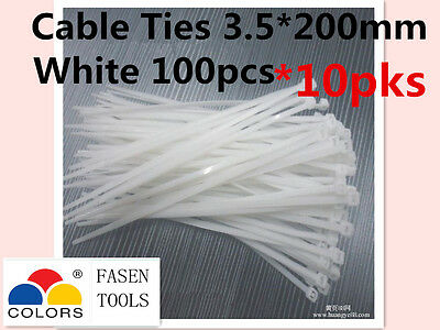 1000Pcs White Electrical Nylon Cable Zip Ties (3.5mm x 200mm) UV Stabilised