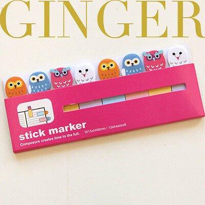 Owl Cartoon 120 Pages Sticker Post It Bookmark Tab Note Pads Sticky Notes (AB51)