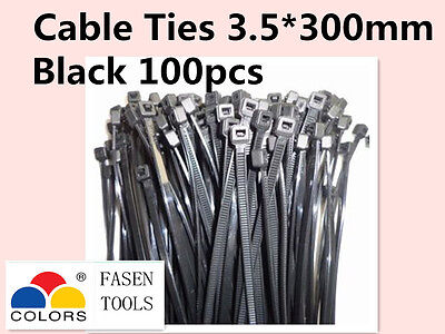 100Pcs Black Electrical Nylon Cable Zip Ties (3.5mm x 300mm) UV Stabilised