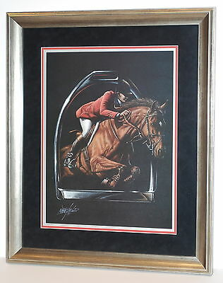"""Hunter/Jumper"" Horse Art by Wakefield in 23""x27"" Frame (MS145)"