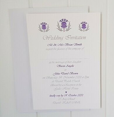Personalised A6 Thistle Scottish Invitation Wedding/Evening Stationery SAMPLE