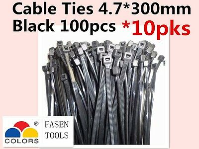 1000Pcs BLACK Electrical Nylon Cable Zip Ties (4.7mm x 300mm)  UV Stabilised