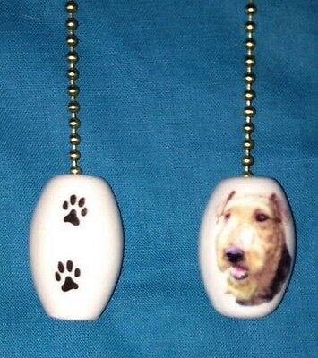 """One Airedale Terrier Dog Fan Pull With Paw Prints On The Back 1"""""""