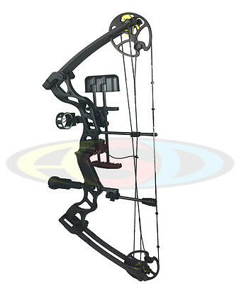 ASD Pro Series Black Adult Compound Bow Set 50-70lbs Arrows F/O Sight, Rest