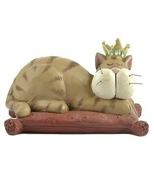 Blossom Bucket Tan Tabby Cat with Crown on Pillow Resin figurine