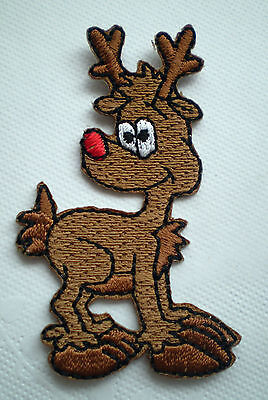 BULK 10 pk EMBROIDERY IRON ON RUDOLPH THE RED NOSE REINDEER PATCH XMAS CRAFT DIY