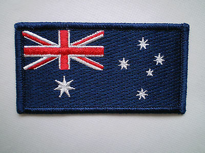 AUSTRALIAN FLAG IRON ON PATCH BADGE FUNDRAISER IDEA 8x4cm QUALITY EMBROIDERY :0)
