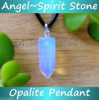 OPALITE Crystal Pendant Necklace ATTRACT ANGELS & SPIRITS Gemstone Healing Point
