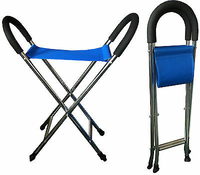 FOLDING ALUMINIUM LIGHTWEIGHT WALKING STICK STOOL SEAT camping hiking walking