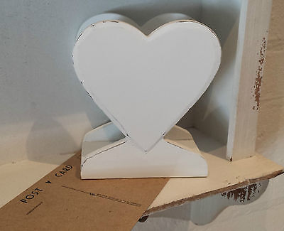Gisela Graham Distressed Chic White Wood Heart Letter Rack Shabby Desk Storage