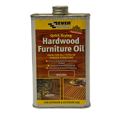 Everbuild Natural Hardwood Furniture Oil 500Ml Quick Drying Protection