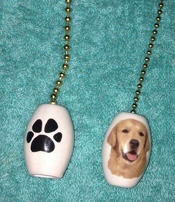 """One Golden Retriever Dog Fan Pull With A Paw Print On The Back 1"""""""