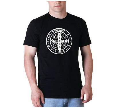 St. Benedict medal Mens graphic tee shirt Catholic Saint Tshirt screenprinted