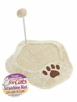 Cat Kitten Paw Scratching Mat With Springy Pom Pom Play Scratch Board Toy