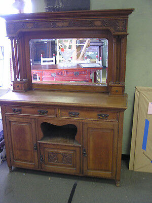 Oak Buffet with Large Mirror & Columns