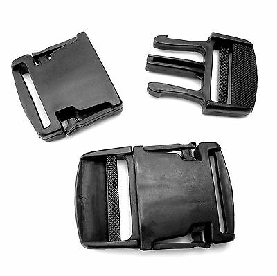 Black Plastic side release buckles for 35 mm webbing single adjusting AOJ