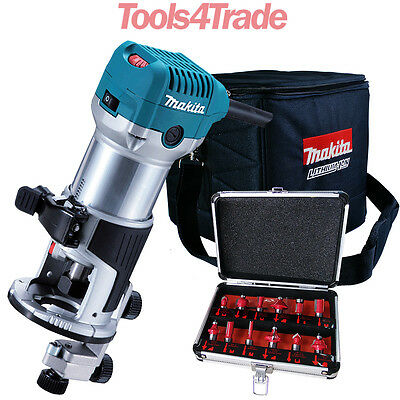 Makita RT0700CX4 1/4inch Router / Trimmer 240V with 12 Piece Cutter Set & Bag