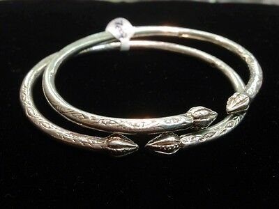Pair Of Handmade West Indian Sterling Silver Bangles - Big Size - Men & Women