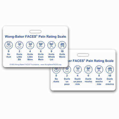 Wong-Baker FACES® Pain Rating Scale Horz w/ Spanish RN EMT Paramedic MA MD APRN