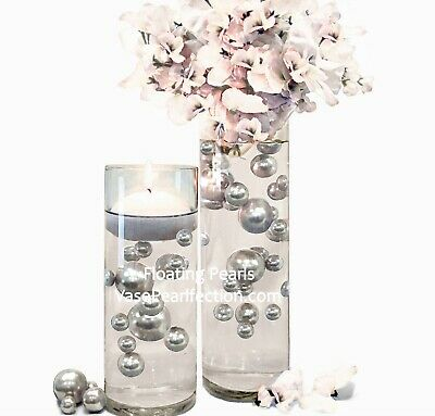 80 Unique Jumbo & Assorted Sizes Silver & White Pearls Vase Fillers Value Pack