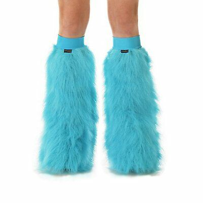 Turquoise Rave Leg Warmers Boot Covers Fluffies Turquoise Bands New Years Dance