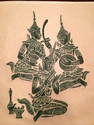 Vintage Art - Thailand Temple Wood Block Print on Paper Of Goddess Musicians