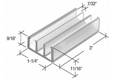 "Clear 1-1/4"" Wide Sliding Shower Door Bottom Guide"
