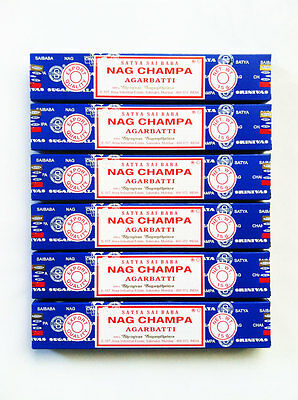 Nag Champa Satya Sai Baba Incense Sticks 15g x 6 Box Pack Authentic Original
