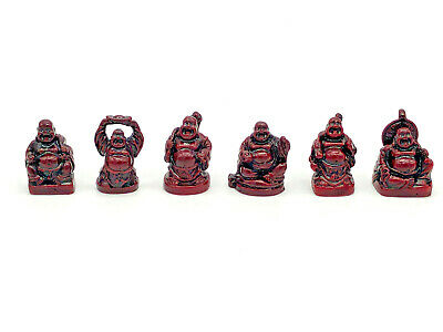 Happy Laughing Buddha Set of 6 Red Resin Statues Small Chinese Feng Shui