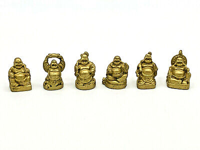 Happy Laughing Buddha Set of 6 Gold Resin Statues Small Chinese Feng Shui