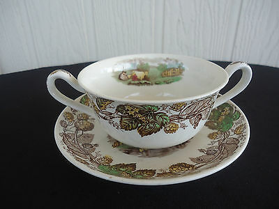 vintage copeland spode rural country scene soup coupe bowl & saucer  cattle cows