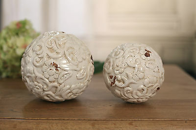 Antiqued Ceramic Decor Ball Rustic Home Decor Gift BRAND NEW Two Sizes