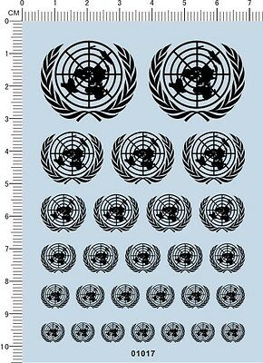 decal UN United Nations for different scales model kits (black) 01017