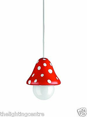 *Childrens Ceiling Light Red Toadstool Pendant for Kids Bedroom Or Playroom