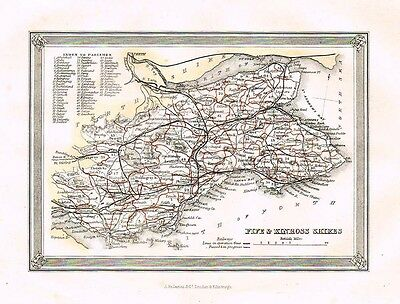 FIFE & KINROSS-SHIRE Showing Parishes - Antique Coloured Map c1875 by Fullarton