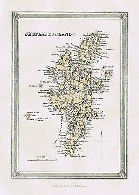 SHETLAND ISLANDS - Antique Coloured Map c1875 by Fullarton