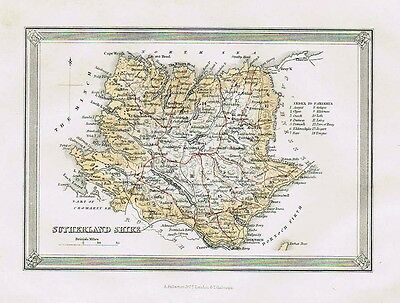 SUTHERLANDSHIRE Showing Parishes - Antique Coloured Map c1875 by Fullarton