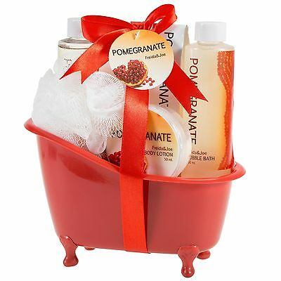 Bath, Body, and Spa Gift Set Basket for Women, in Pomegranate Fragrance
